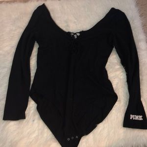 black lace up PINK body suit